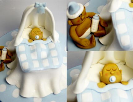 Picture of baby in cradle cake