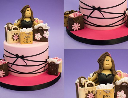 Picture of female fitness models on cake