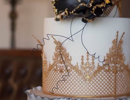 Close up of Gothic lace cake