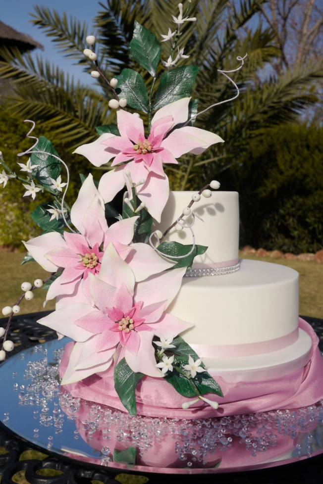 Picture of poinsettia flower cake
