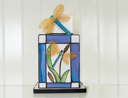 Stained Glass Dragonfly Cake