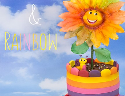 Sunflower and Rainbow Cake