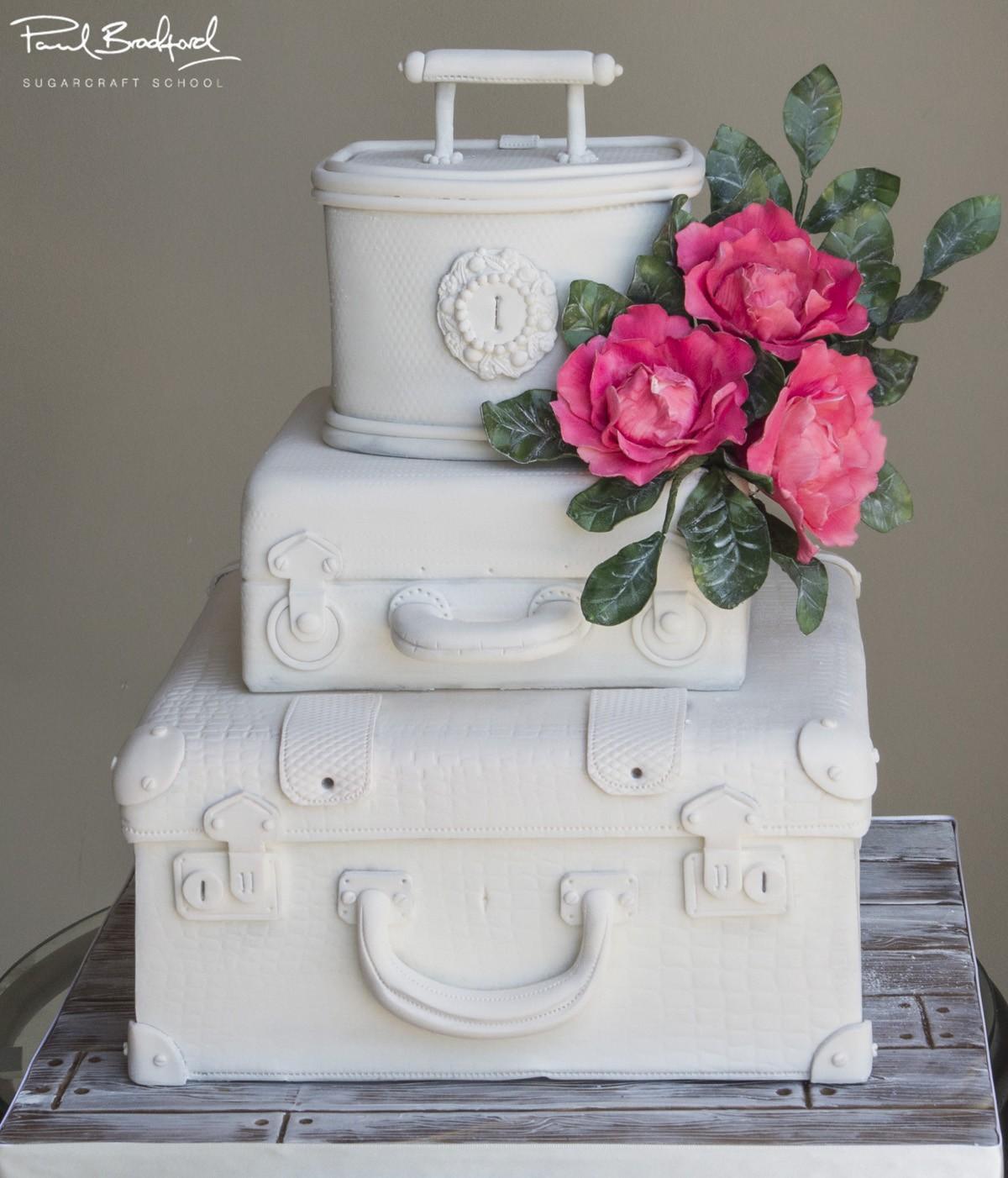 White Vintage Suitcase - CakeFlix