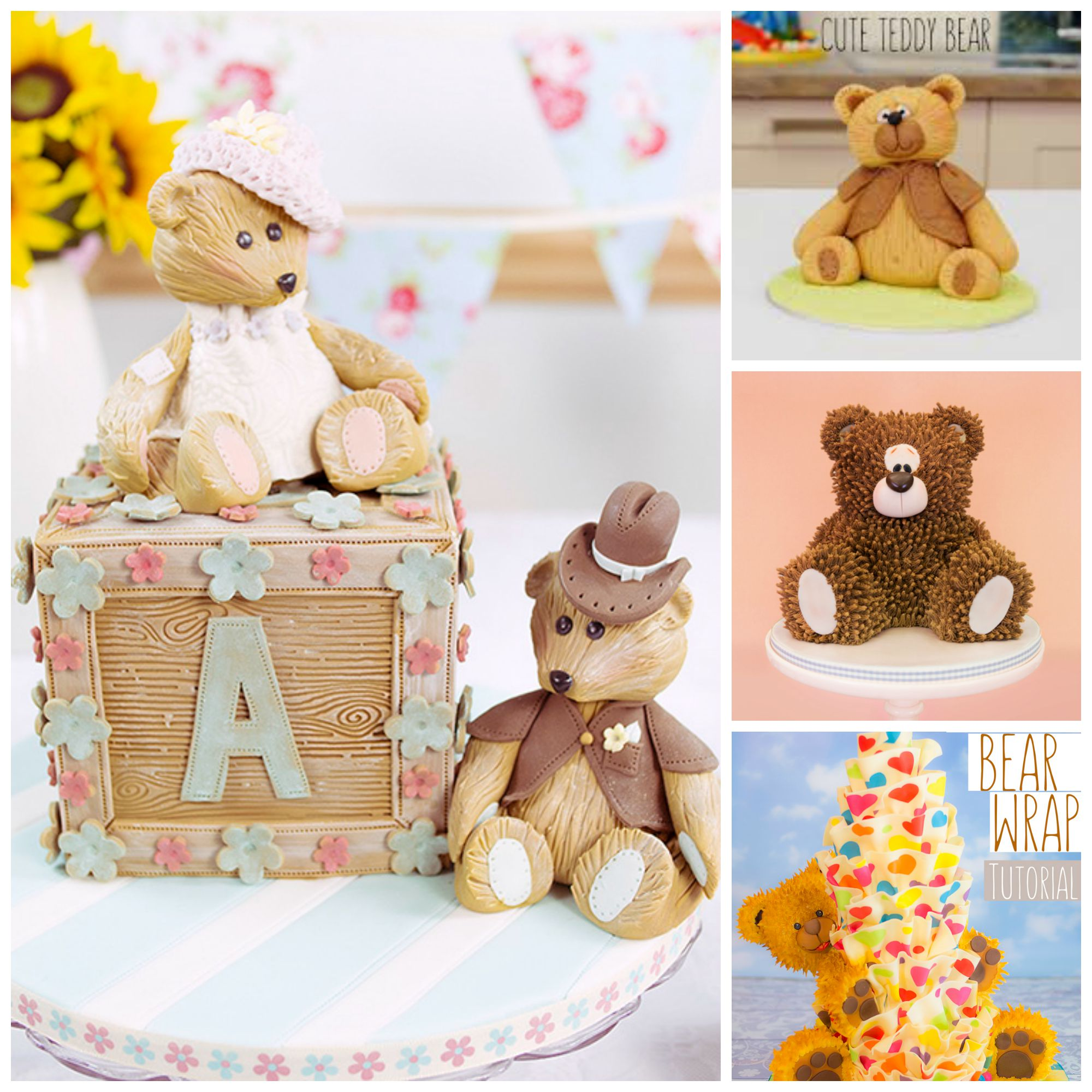teddy bear cakes collage