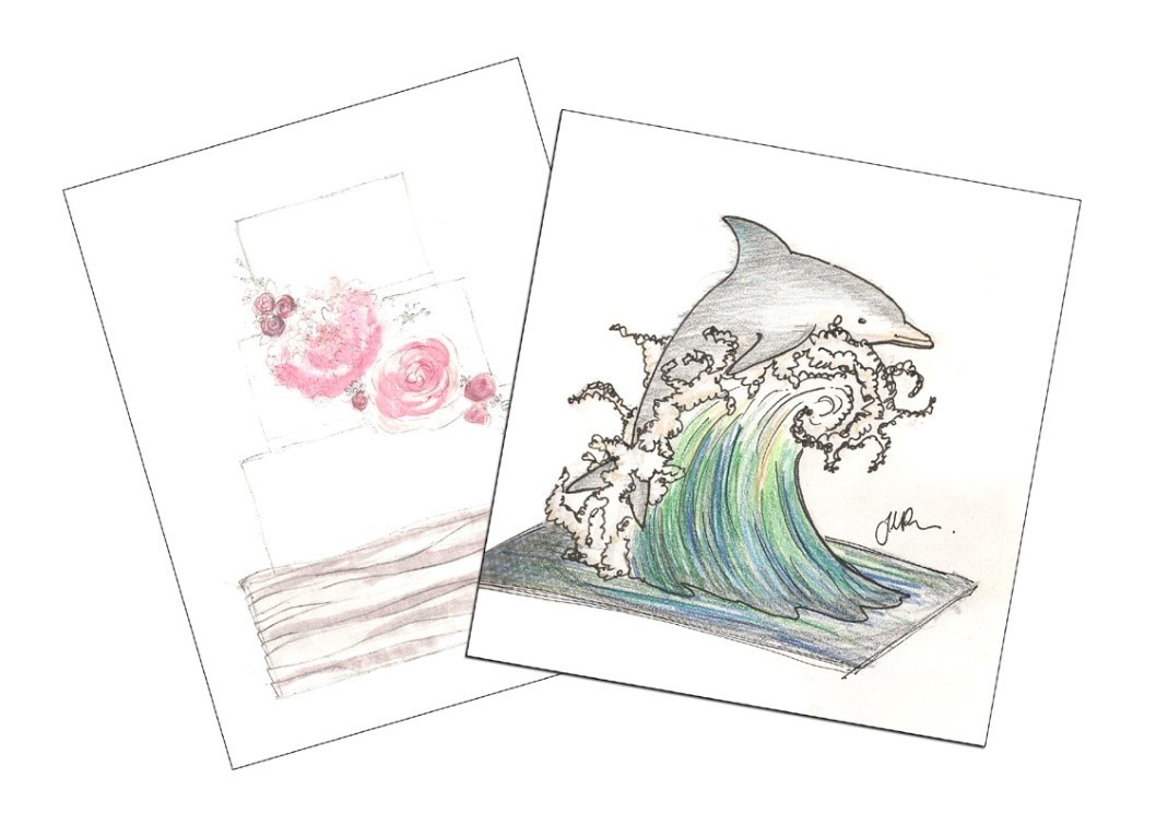 Janettes water colour cake designs