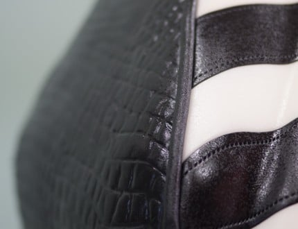 Close up of side of handbag cake