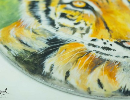 Close up of tiger painting