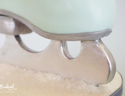 Close up of ice skate blade