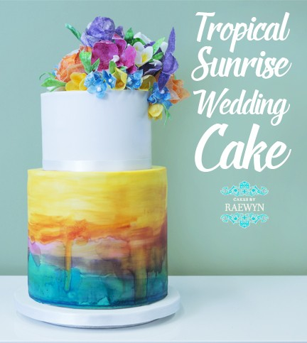Tropical Sunrise Wedding Cake