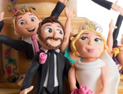 Close up of sugarpaste bride and groom