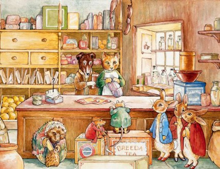 Sachiko Windbiel cites Beatrix Potter's 'The Tale of Ginger & Pickles' as one of our biggest inspirations when she was younger