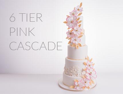 6-tier pink cascade cake