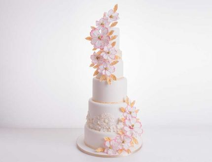 6 tier pink cascade cake - cakeflix