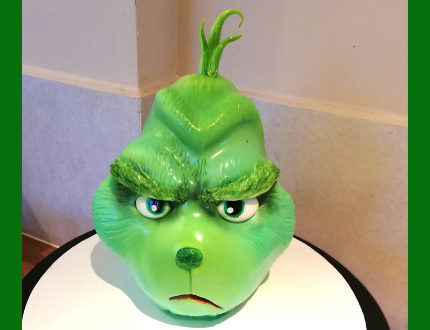 grinch christmas cake - cake of the month december 2018