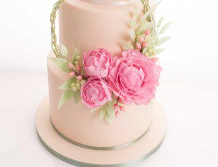 peony flower hoop cake