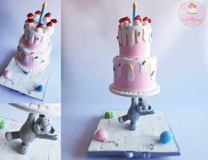 bear gravity-defying cake