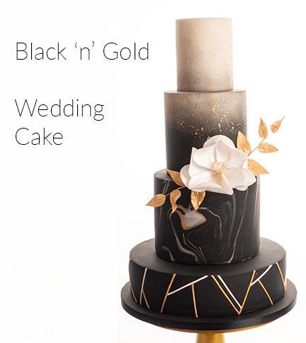 Black 'n' Gold Wedding Cake