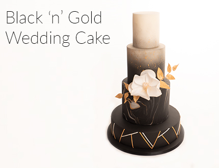 Black 'n' Gold Wedding Cake