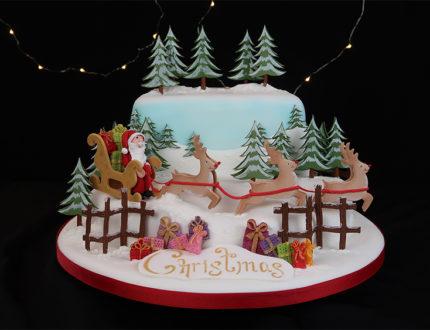 santas sleigh ride full cake