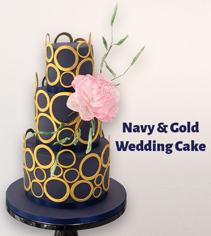 Navy & Gold Wedding Cake – Bite Sized