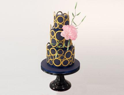 navy and gold wedding cake full image