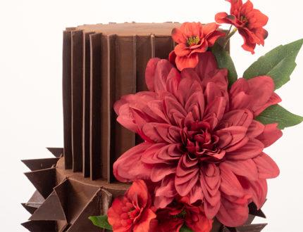 chocolate shard wedding cake top tier