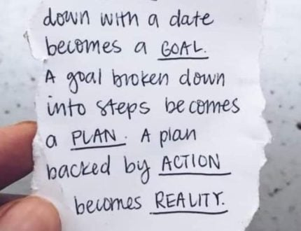 Goals written down