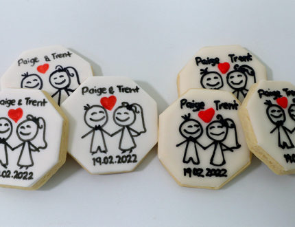 wedding cookies piped bride and groom