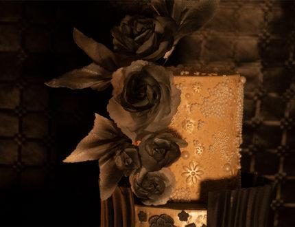 black flamenco wedding cake top tier