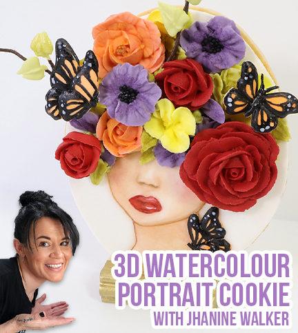 3D Watercolour Portrait Cookie – Bite Sized