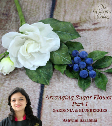 Sugar Flower Arranging Gardenia and Blueberries