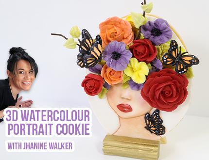 3D Watercolour Portrait Cookie